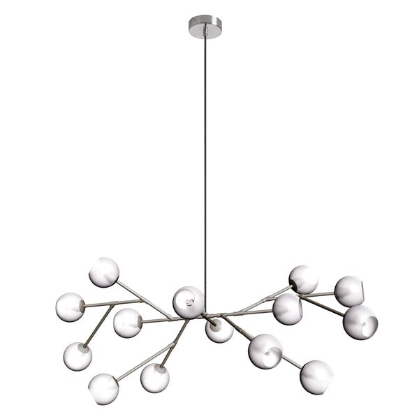 Dainolite 14-light Glass Ball Chandelier in Satin Chrome Finish
