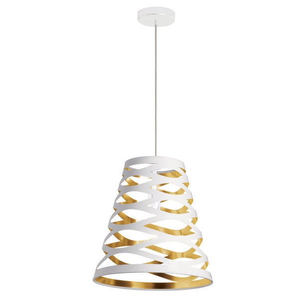 Dainolite 1-light Cut Out Pendant with White on Gold Shade