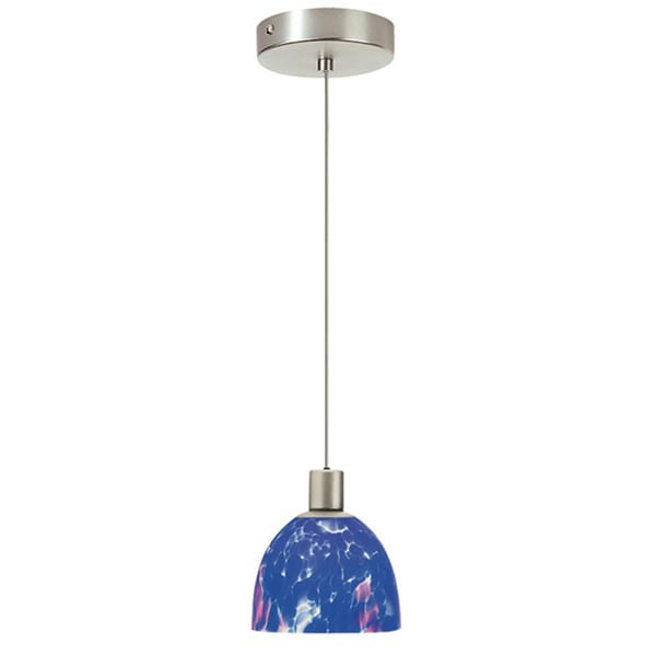 Dainolite 1-light Satin Chrome Pendant Blue Mosaic Glass