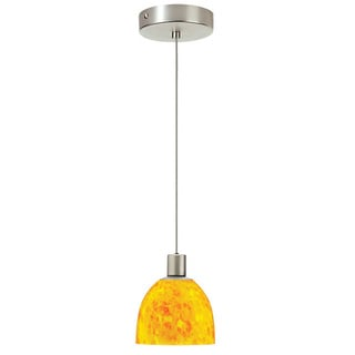 Dainolite 1-light Satin Chrome Pendant Yellow Petal Glass