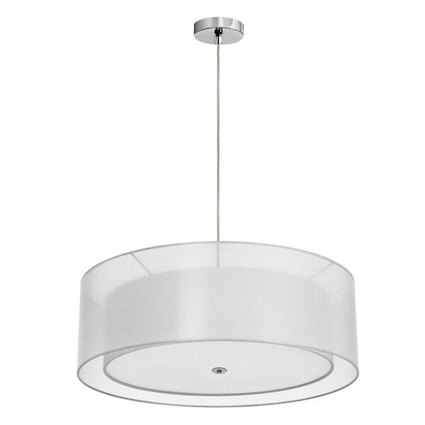 Dainolite 2-light Pendant with White Double Shade in Polished Chrome Finish