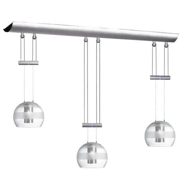 Dainolite 3-light Satin Chrome Adjustable Height Pendant Oval Clear Frosted Glass