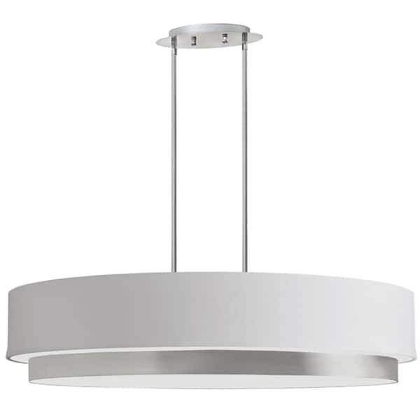 Dainolite 4-light Oval Pendant in Satin Chrome Finish