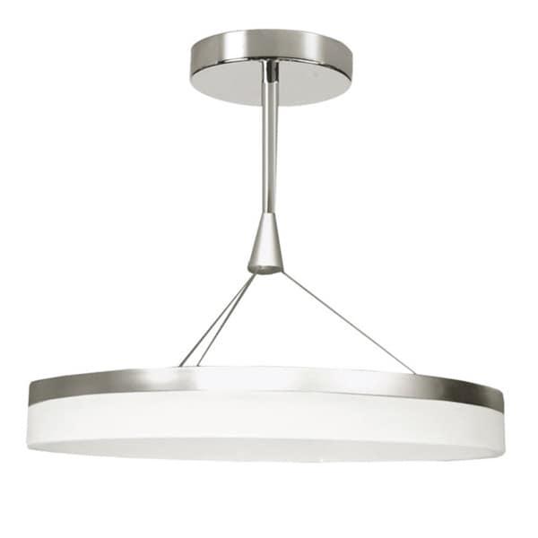 Dainolite 40Watt LED Circular Silver Pendant in Frosted White Diffuser