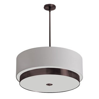Dainolite 4-light Large Pendant in White Linen Drum Shade in Vintage Oiled Brushed Bronze