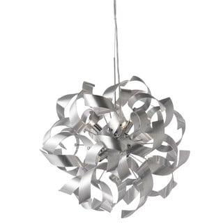 Dainolite 7-light Pendant in Silver Aluminum Ribbons in Polished Chrome Finish