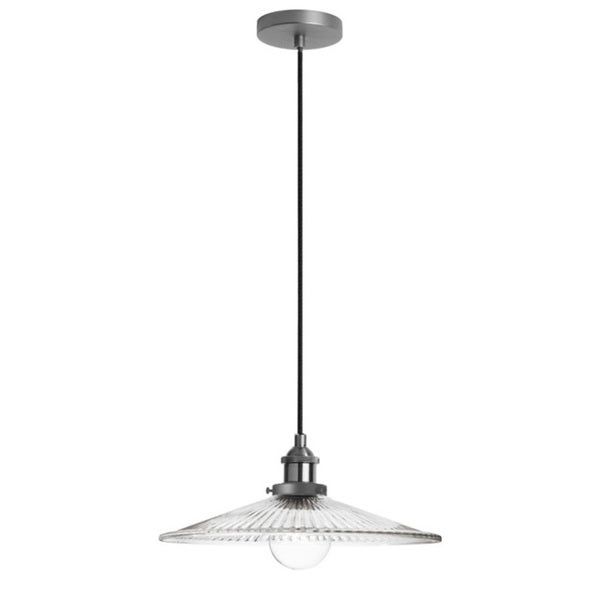 Dainolite 1-light Pendant with Ribbed Glass in Satin Chrome 15898587