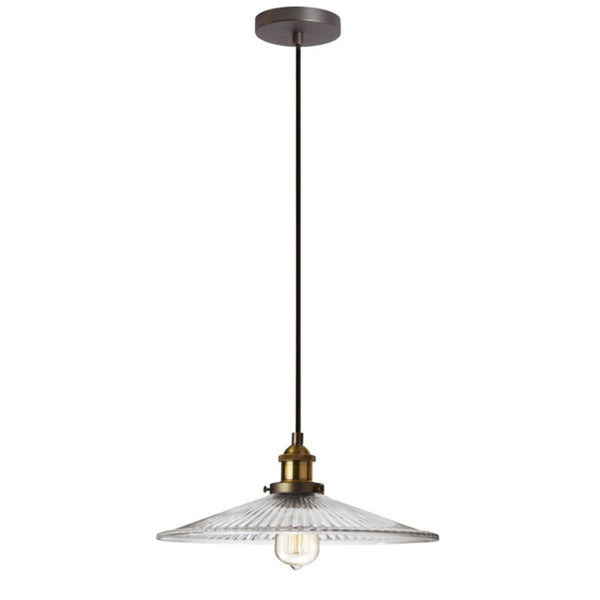 Dainolite 1-light Pendant with Ribbed Glass in Vintage Steel 15898588