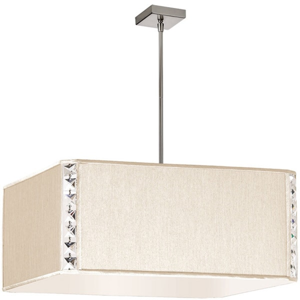 Dainolite 3-light Square Elise Pendant with Crystal Accents in Polished Chrome in Cream Silk Glow Square Shade
