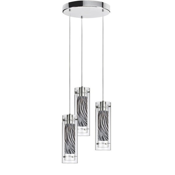 Dainolite 3-light Polished Chrome Round Pendant Clear/Clear Glass with Zebra Fabric Sleeve Silver Wire