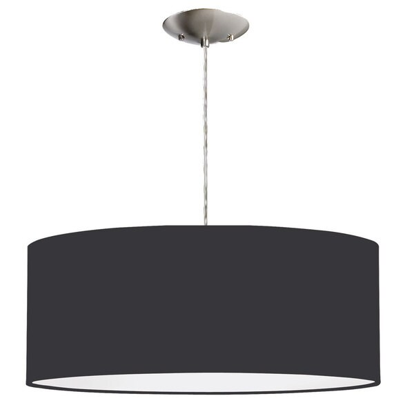 Dainolite 2-light Black Drum Shade Pendant with White Fabric Diffuser in Silver Chrome finish