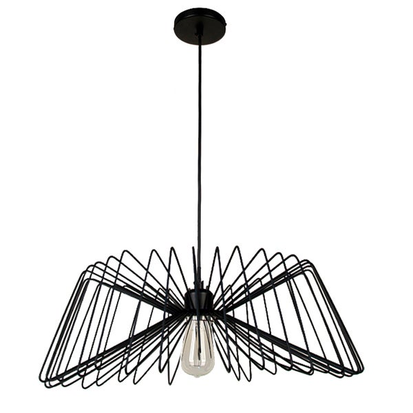 Dainolite 22 inch Diameter Wire Pendant in Matte Black Finish