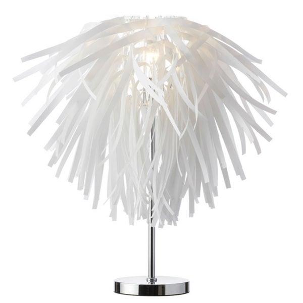 Dainolite Vinyl Table Lamp in White with Chrome Base