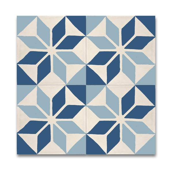 Pack of 21 Assila Blue Ans White Handmade Cement/ Granite 8-inch x 8-inch Floor and Wall Tile (Morocco)