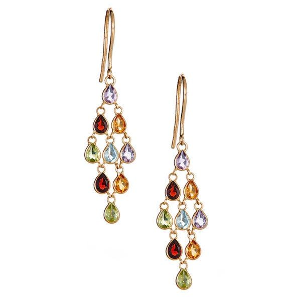 14k yellow gold multi semi precious earring
