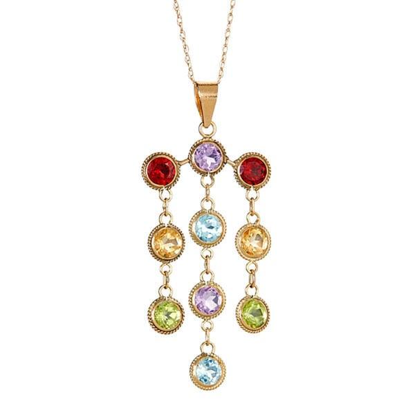 10k yellow gold multi semi precious pendant