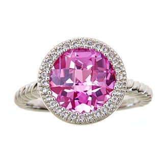 Sterling silver ring with created pink sapphire and created white sapphire