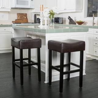 Christopher Knight Home Portman Bonded Leather Backless Bar Stool (Set of 2)