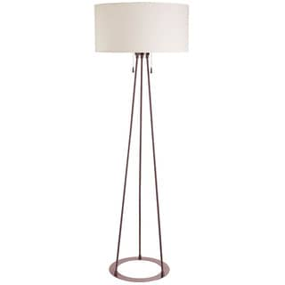 Dainolite 2 Lite Oil Brushed Bronze Floor Lamp Large Ivory Linen Shade