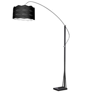 Dainolite Arc Floor Lamp Polished Chrome/Black Finish with Black Shade
