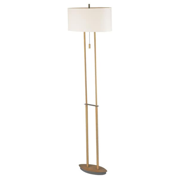 Dainolite Floor Lamp in Antique Brass in White Oval Shade
