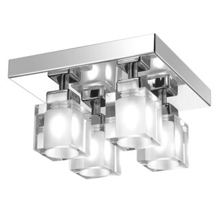 Dainolite 4-light Frosted Crystal Cubes in Flush Mount Fixture in Polished Chrome Finish