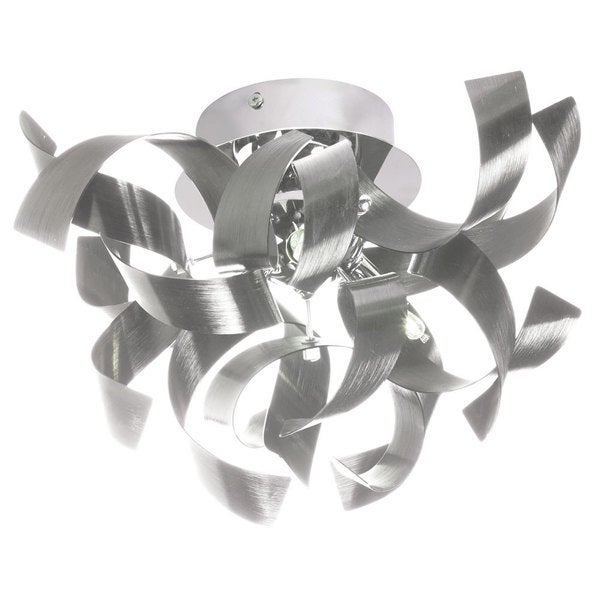 Dainolite 3-light Semi Flush Polished Chrome Fixture in Silver Aluminium Ribbons