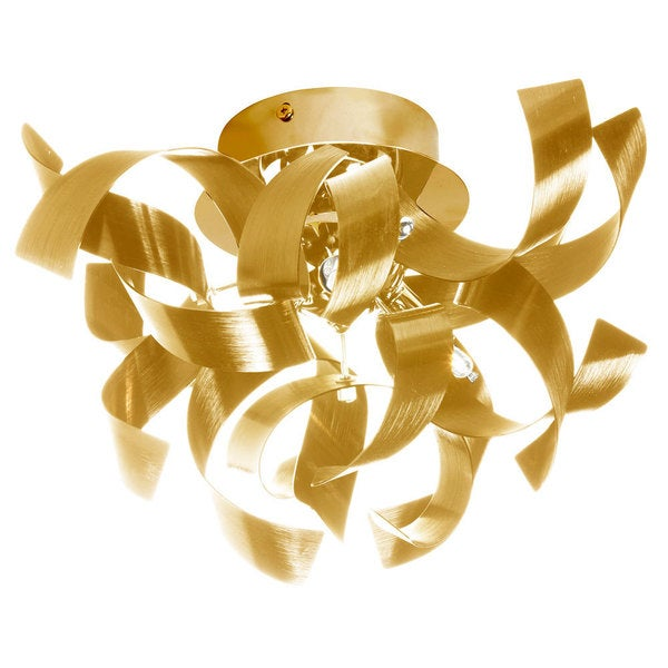 Dainolite 3-light Semi Flush Polished Chrome Fixture in Gold Aluminium Ribbons