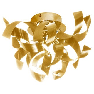 Dainolite 3-light Semi Flush Polished Chrome Fixture in Gold Aluminium Ribbons