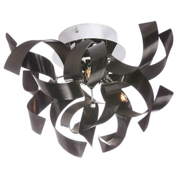Dainolite 3-light Semi Flush Polished Chrome Fixture in Black Aluminium Ribbons