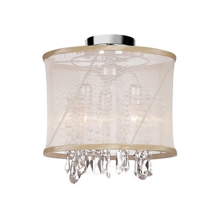 Dainolite 3-light 3-light Crystal Semi Flush Fixture in Polished Chrome in Oyster Organza Saffron Shade