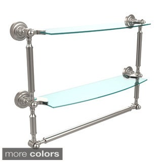 Dottingham Collection 18-inch 2-tiered Glass Shelf with Integrated Towel Bar