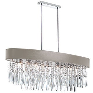 Dainolite 8-light Oval Crystal Polished Chrome Chandelier in Pebble Micro Shade