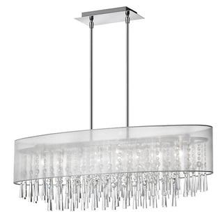 Dainolite 8-light Polished Chrome Oval Crystal Pendant with Silver Laminated Organza Shade