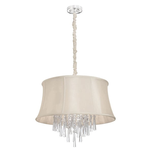 Dainolite 6 Lite Polished Chrome Clear Crystal Pendant with Silk Glow Cream IN/OUT with Piping