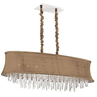Dainolite 8-light Oval Crystal Polished Chrome Chandelier in Oval Latte Bell Shade