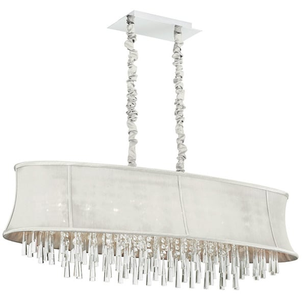 Dainolite 8-light Oval Crystal Polished Chrome Chandelier in Oval Pearl Bell Shade