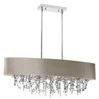 Dainolite 7-light Horizontal Crystal Chandelier with Pebble Shade
