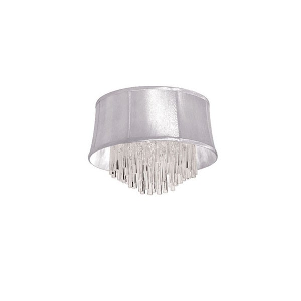 Dainolite 4-light Crystal Polished Chrome Flush Mount Fixture in White Organza Bell Shade
