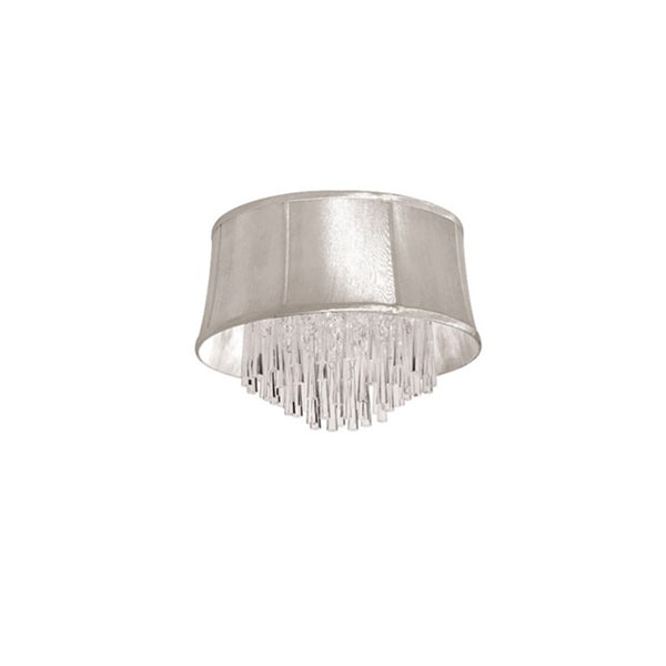 Dainolite 4-light Crystal Polished Chrome Flush Mount Fixture in Oyster Organza Bell Shade
