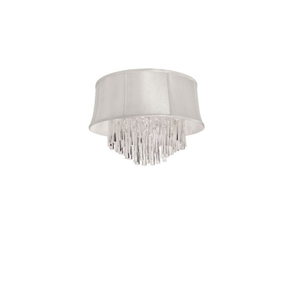 Dainolite 3-light Crystal Polished Chrome Flush Mount Fixture in Pearl Bell Shade