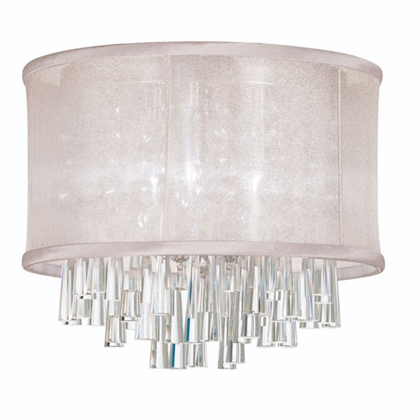 dainolite 3 light crystal polished chrome flush mount fixture in white