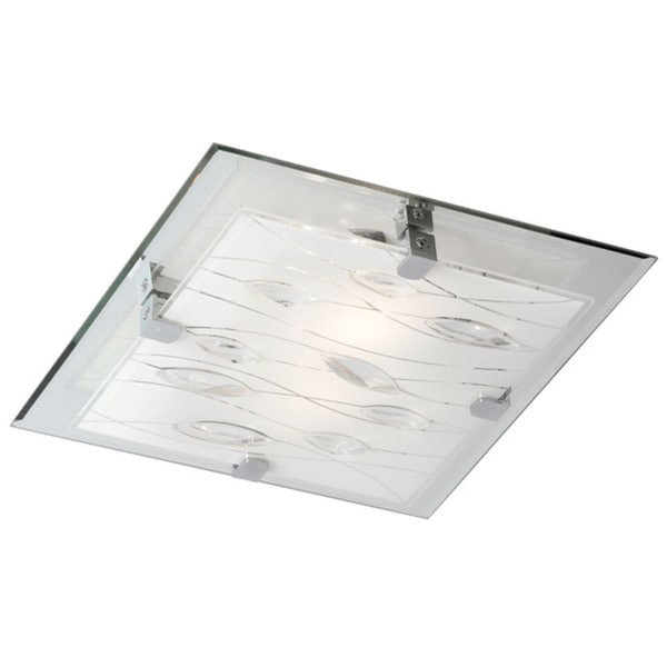 Dainolite 4-light Square Flush Mount Fixture with Crystal Accents