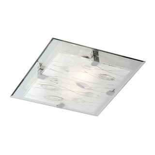 Dainolite 3-light Square Flush Mount Fixture with Crystal Accents
