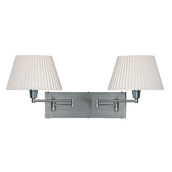 Dainolite Satin Chrome Double Swing-Arm Wall Lamp with Plain Linen White Shades