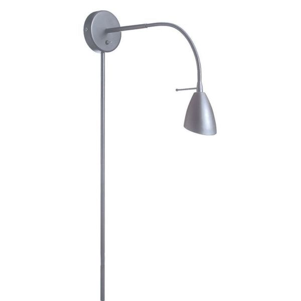Dainolite Wall Mounted Halogen Reading Lamp in Satin Chrome