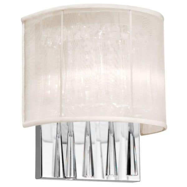 Dainolite 2-light Crystal Wall Sconce with Oyster Shade