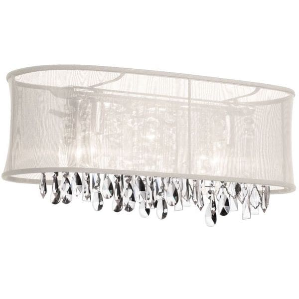 Dainolite 4-light Crystal Vanity in Polished Chrome in Oyster Oval Organza Shade