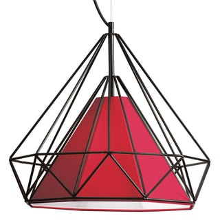 Dainolite 1-light Metal Framed Pendant with Red Shade in Black Finish