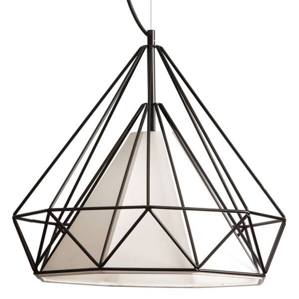 Dainolite 1-light Metal Framed Pendant with Ivory Shade in Black Finish